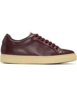 Burgundy Perforated Basso Sneakers