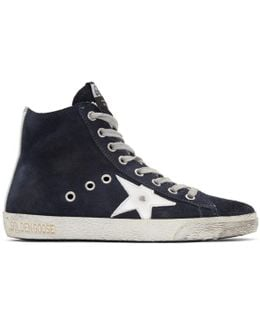 Navy Suede Francy High-top Sneakers