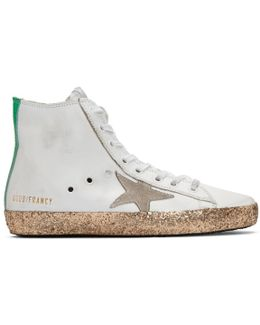 White & Gold Francy High-top Sneakers