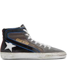 Grey Suede Slide High-top Sneakers