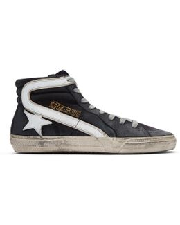 Navy Denim Slide High-top Sneakers