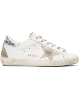 White & Silver Superstar Sneakers