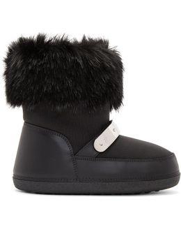 Black Faux Fur Snow Boot Us