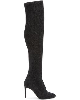 Black Stretch Lurex Over-the-knee Boots