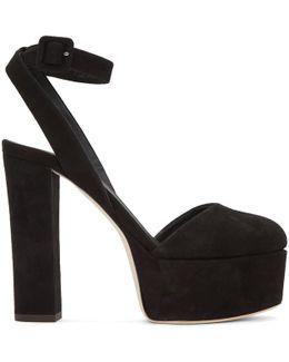 Black Suede Lavinia Platform Heels