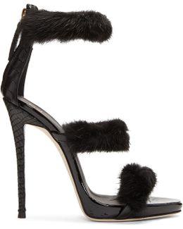 Black Mink & Croc Coline Sandals