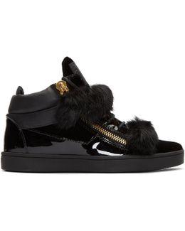 Black Patent & Velvet Brek Mid-top Sneakers
