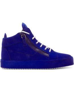 Blue Flocked May London High-top Sneakers