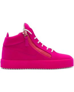 Pink Flocked May London High-top Sneakers