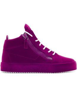 Purple Flocked May London High-top Sneakers