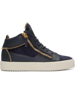 Navy Suede May London High-top Sneakers