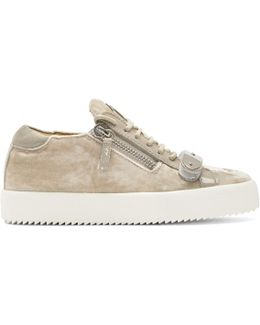 Taupe Velvet May London Sneakers