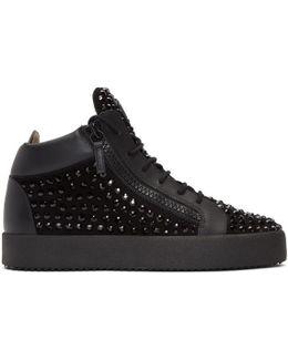 Black Rhinestone May London High-top Sneakers