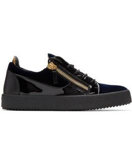 Navy Velvet May London Sneakers