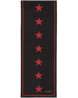 Black & Red Jacquard Stars Scarf