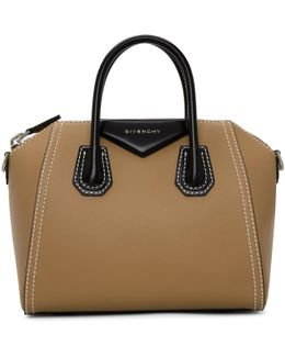 Beige & Black Small Antigona Bag