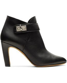 Black Shark Lock Heeled Boots