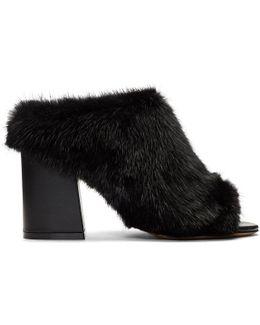 Black Fur Paris Mules