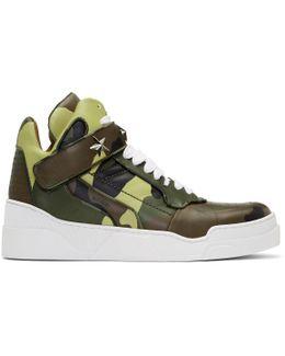 Green & Brown Camo Tyson High-top Sneakers