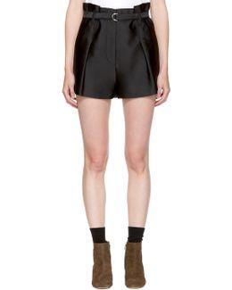 Black Satin Origami Shorts