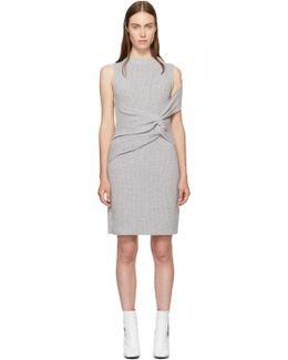 Grey Draped Ribbed Twist Dress