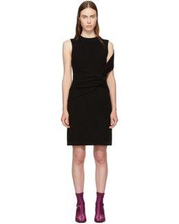 Black Ribbed Twist Dress