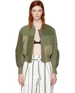 Green Patchwork Bomber Jacket