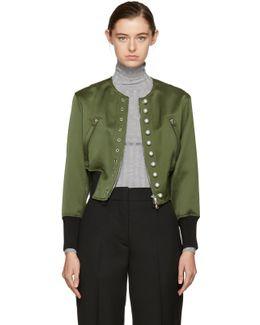 Green Pearls Bomber Jacket
