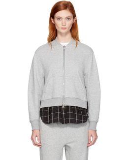 Grey Double Layer Zip Sweater