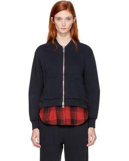 Navy Double Layer Zip Sweater