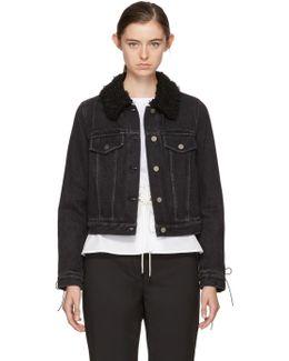 Black Denim Shearling Collar Jacket
