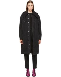 Black Long Denim Sherpa Jacket