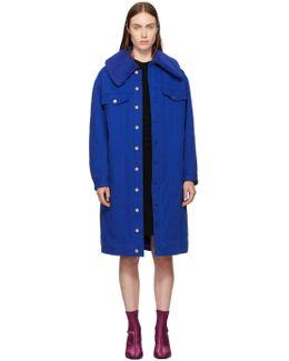 Blue Long Denim Sherpa Jacket