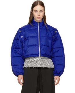 Blue Cropped Puffer Ski Coat