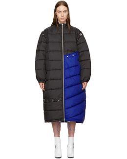 Blue & Black Long Colorblock Puffer Coat