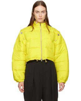 Yellow Cropped Puffer Ski Coat
