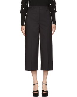 Black Wide-leg Cuffed Trousers