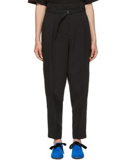 Black Darted Crepe Trousers