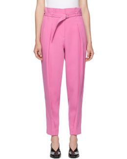 Pink Darted Crepe Trousers
