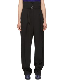 Black High-waisted Foldover Trousers
