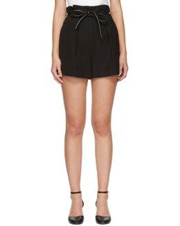 Black Origami Pleat Shorts