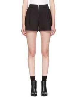 Black Exposed Zip Shorts