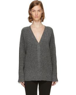 Grey Pearl Cuff V-neck Sweater