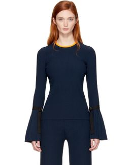 Navy Pleated Pullover