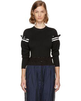 Black Ruffle Sleeve Sweater