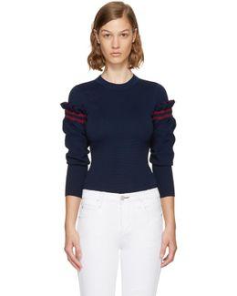 Navy Ruffle Sleeve Sweater