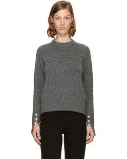 Grey Pearl Cuff Sweater