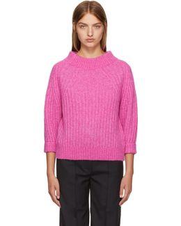 Pink Rib Knit Alpaca Sweater