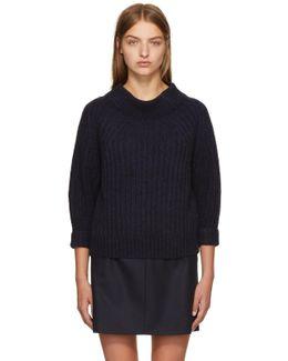 Navy Rib Knit Alpaca Sweater
