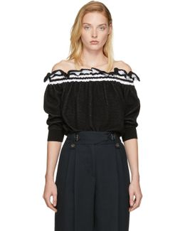 Black Ruffled Off-the-shoulder Sweater